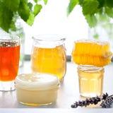 Variedad de la miel, panal en tarros de cristal Imagen de archivo