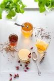 Variedad de la miel, panal en tarros de cristal Fotos de archivo libres de regalías