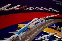 Variedad de modelos de la línea aérea de los aviones Imagen de archivo libre de regalías