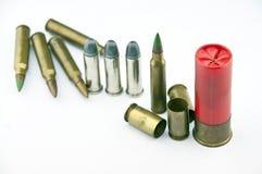 Variedad de munición con el fondo blanco Fotografía de archivo libre de regalías