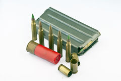 Variedad de munición con el fondo blanco Imagen de archivo