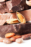 Variedad de pedazos del chocolate Foto de archivo libre de regalías