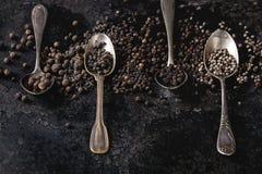 Variedad de pimientas negras Fotos de archivo