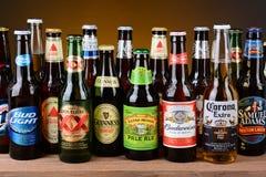 Variedad de solas botellas de cerveza Fotos de archivo libres de regalías
