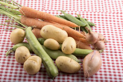 Variedad de verduras en una tabla de cocina Fotografía de archivo libre de regalías