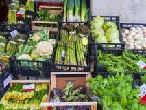 Variedad de verduras frescas en el mercado fotos de archivo libres de regalías
