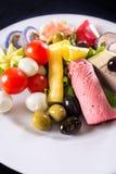 Variedad de verduras y de gras sabrosos del foie Foto de archivo libre de regalías
