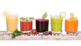Variedad del jugo vegetal imágenes de archivo libres de regalías