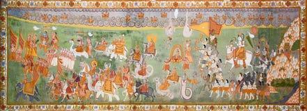 Variedad increíble de dioses del hinduist en la pintura india Imagen de archivo