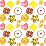 Variedade colorida das cookies caseiros saborosos ilustração stock