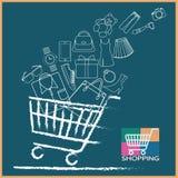 Variedade completa do carrinho de compras de produtos ilustração royalty free