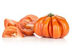 Variedade crua fresca do tomate da carne do tomate isolada no branco Imagem de Stock Royalty Free