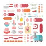 A variedade da variedade de produtos processados das carnes frias vector ícones ilustração do vetor