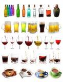 Variedade das bebidas Fotos de Stock