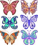 Variedade das borboletas de forma complexa Silhueta da decoração Foto de Stock Royalty Free