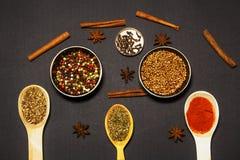 Variedade das especiarias em colheres de madeira em um fundo Vista de acima Fotografia de Stock
