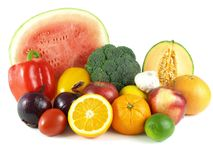 Variedade das frutas e verdura imagens de stock