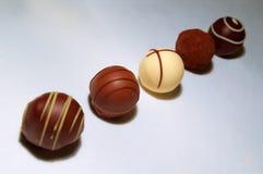 Variedade das trufas de chocolate Fotografia de Stock