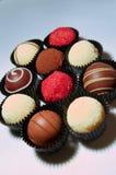 Variedade das trufas de chocolate Imagens de Stock