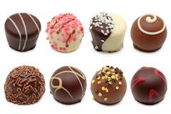 Variedade das trufas de chocolate foto de stock royalty free