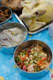 Variedade de alimentos para a adoração ao antepassado foto de stock royalty free