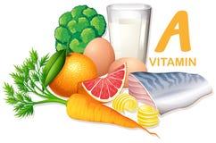 Variedade de alimentos que contêm a vitamina A ilustração stock