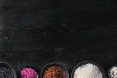 Variedade de arroz colorido Fotografia de Stock Royalty Free
