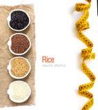 Variedade de arroz em umas bacias isoladas no branco Fotografia de Stock Royalty Free