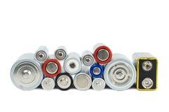 Variedade de baterias vistas da parte dianteira Fotos de Stock Royalty Free