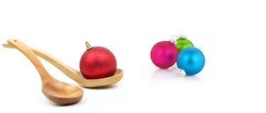 Variedade de bolas do Natal no fundo branco Fotografia de Stock Royalty Free