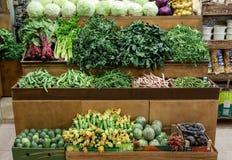 A variedade de couve dos legumes frescos, verde deixa o horta, espinafre, aipo, feijões verdes, abobrinha, beterrabas no contador Imagens de Stock
