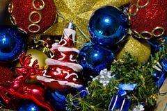 Variedade de decorações da árvore de Natal Imagem de Stock