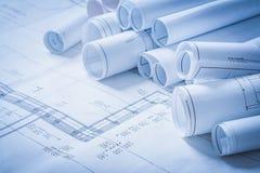 Variedade de desenhos de construção da engenharia Imagem de Stock