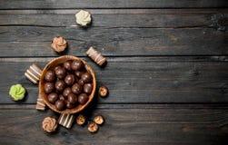 Variedade de doces do chocolate fotografia de stock
