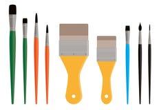 Variedade de escovas de pintura Fotografia de Stock