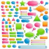 Variedade de etiquetas e de ícones ilustração stock