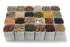Variedade de feijões secados e de lentilhas Foto de Stock Royalty Free