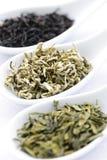 Variedade de folhas de chá secas nas colheres Fotos de Stock Royalty Free