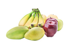Variedade de fruto isolada em um fundo branco, banana, manga Foto de Stock Royalty Free