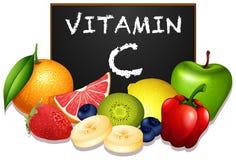 Variedade de frutos com vitamina C ilustração royalty free