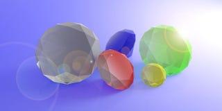Variedade de gemas coloridas no fundo azul ilustração 3D Foto de Stock