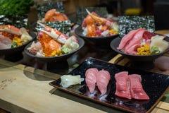 Variedade de grupo japonês do alimento Fotos de Stock Royalty Free