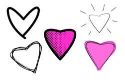 Variedade de ilustrações dos corações do amor ilustração do vetor