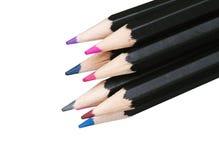 Variedade de lápis coloridos no fundo branco Imagens de Stock