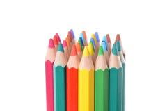 Variedade de lápis coloridos sobre o branco Imagens de Stock