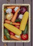 Variedade de legumes frescos em uma caixa de madeira Imagens de Stock