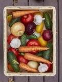Variedade de legumes frescos em uma caixa de madeira Fotos de Stock Royalty Free