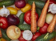 Variedade de legumes frescos em uma caixa de madeira Fotos de Stock