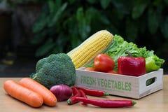Variedade de legumes frescos na caixa de madeira na tabela de madeira imagens de stock royalty free
