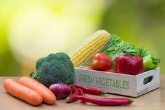 Variedade de legumes frescos na caixa de madeira na tabela de madeira foto de stock royalty free